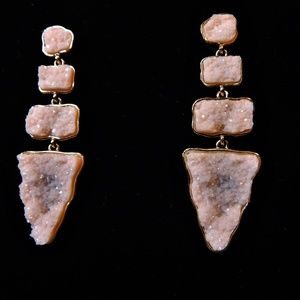 Pretty Posh Pale Pink Druzy Drop Earrings,